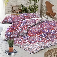 NEW Boho Lotus Flower Tapestry Full Duvet Cover SET