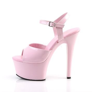 Aspire 609 Baby Pink Platform High Heel Ankle Strap Shoes