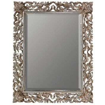 GM Luxury Olivier Rectangular Decorative Wall Art Hand Carved Mirror, Antique Silver Leaf 35.4x47.2