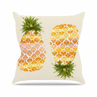 "Judith Loske ""Happy Pineapples "" Yellow Gold Throw Pillow"