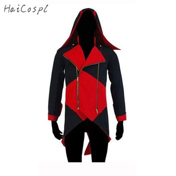 Assassins Creed Cosplay Costume Man Jacket Conner Kenway Coat Plus Size White Black Red Blue Jacket With Hat Show Clothes