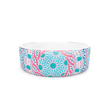 "Miranda Mol ""Prismatic White"" Blue Pink Abstract Pet Bowl"