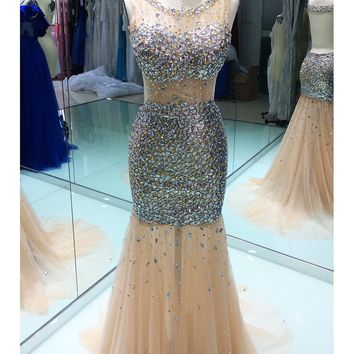 Luxury Backless Prom Dresses Mermaid 2017 Sheer Scoop Crystal Beaded Floor Length Gold Women Long Formal Evening Party Gowns