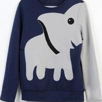 A071023 Fun elephant pattern long-sleeved pullover sweater  from cassie2013