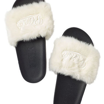4fdaca04c66 Faux Fur Slides - PINK - Victoria s from VS PINK