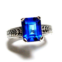 """Swiss blue topaz, birthstone ring,solitaire ring, electric blue, engagement ring,  s 6 1/2   """"Something Blue"""""""
