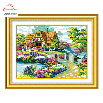 Needlework,stitch,DIY DMC Cross Stitch,Sets For Embroidery kits,Precise Printed Countryside Flower House Counted Cross-Stitching