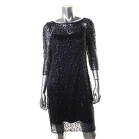 Kay Unger Womens Lace 3/4 Sleeves Cocktail Dress