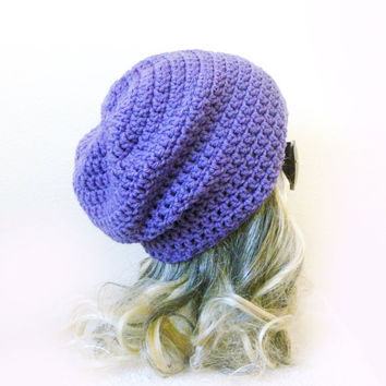 Lilac Beanie Slouchy Beanie Violet Purple Crochet Slouch Hat Baggy hat Girl Women Teen Men trendy accessories