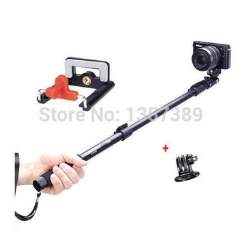 Telescopic Aluminum Extendable Monopod Pole + Phone Clip Holder + Tripod Mount Adapter for GoPro Hero 1 2 3 3+ 4 Mobile Phone