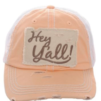 Orange Hey Y'all Floral Distressed Vintage Cap
