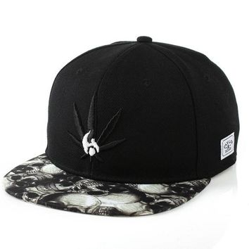 DCCKIX3 Korean Ladies Skull Embroidery Leaf Hip-hop Baseball Cap Hats [4989703044]