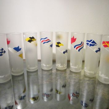 Drinking Glass Tumblers Set of Eight Scripted International Symbols Frost Design