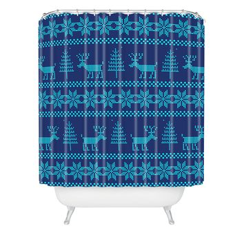Natt Knitting Turquoise Deer Shower Curtain