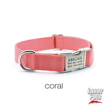 Laser Engraved Personalized Buckle Webbing Dog Collar - Coral