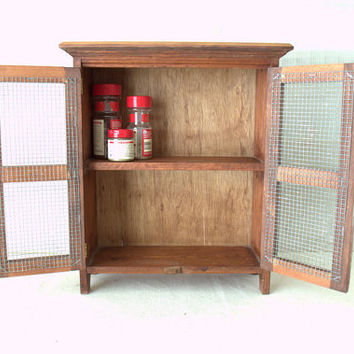 Countertop Spice Rack, Rustic Wooden Display Cabinet, Small Curio Cabinet, Wood Rack with Doors, Countertop Display Case
