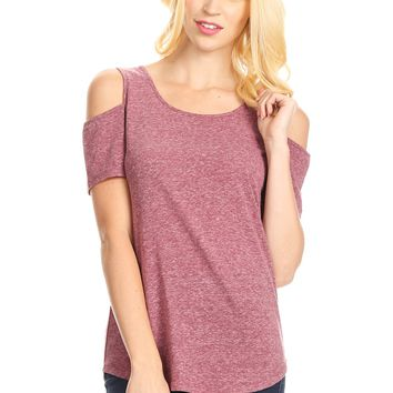 Purple Cold Shoulder Tunic Heathered Plum Top: XS/S/M/L