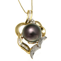 13.65MM TAHITIAN BLACK PEARL DIAMOND PENDANT 14K SOLID YELLOW GOLD