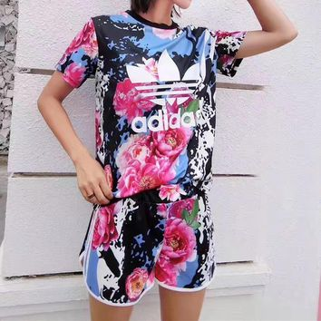 """Adidas"" Women Casual Letter Multicolor Flower Print Short Sleeve Set Two-Piece Sports"