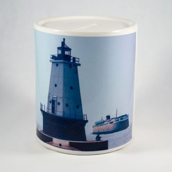 Ludington Lighthouse Badger Ferry, Coin Bank, Ceramic, Hand Imprinted Photograph