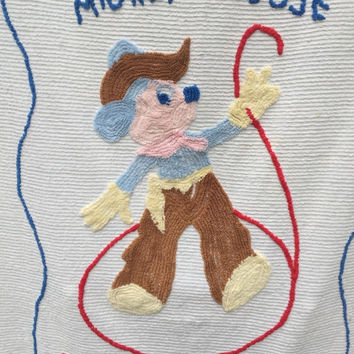 1950s Vintage Mickey Mouse Western Cowboy Disney Chenille Bedspread Blanket Quilt Bedding