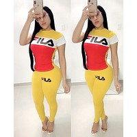 FILA women's fashion stitching letter printing sports and leisure set two-piece Yellow