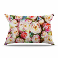 """Dawid Roc """"Pastel Rose Romantic Gifts"""" Green Photography Pillow Case"""