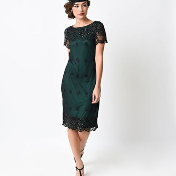 1920s Style Green & Black Hand Beaded Short Sleeve Simi Shift Dress