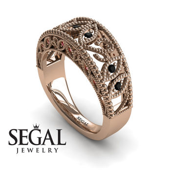 Unique Engagement Ring 14K Red Gold Art Deco Antique Ring Edwardian Ring Filigree Ring Black Diamond With Ruby - Avery