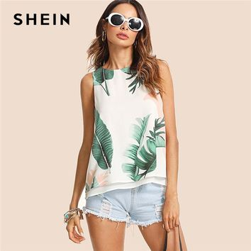 Bohemian Vacation Multi color Women Tank Top  Tropical Print High Low Round  Summer Top