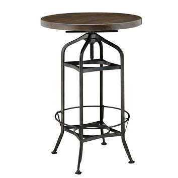 Industrial Vintage Bar Table Gunmetal Base Walnut
