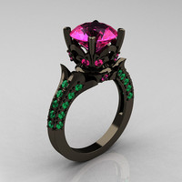 Classic French 14K Black Gold 3.0 Carat Pink Sapphire Emerald Solitaire Wedding Ring R401-14KBGEPS
