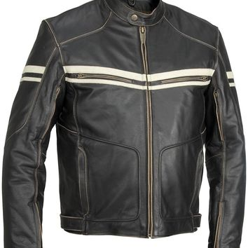 Men Black Hoodlum Vintage Biker Motorcycle Leather Jacket with White Stripes