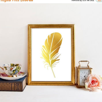 Gold Feather Print, Gold Foil Printable Art, Instant Download, Printable Art, Feather Art, Gold Foil Art, Feather Printable