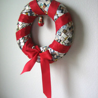 Happy Reclaimed Paper Wreath - Catalogs, Magazines and Junk Mail With Red Ribbon