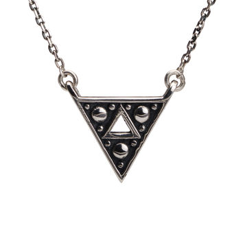 Triangle Triforce Necklace Sterling Silver Charm Boho Jewelry - Moon Dots Collection - FPE020