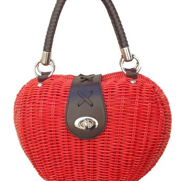 Voodoo Vixen Red Heart Wicker Handbag