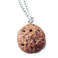 Chocolate Chip Cookie Necklace - Polymer Clay Cookie Necklace - Realistic Cookie Necklace - Miniature Cookie
