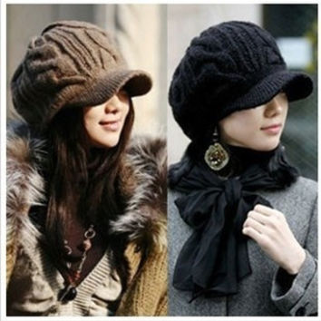 2015 New Hot Peaked Cap Women Hat Winter Caps Knitted Hats For Women 5 Colors G006 = 1946558980