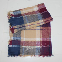 Plaid Tartan Oversized Blanket Scarf Raspberry Jewel Monogrammed Winter Scarf Personalized Christmas Gift Under 30 Dollars