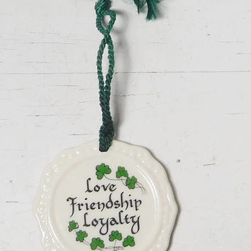 Belleek Porcelain Wall Hanging Shamrocks Made in Ireland Love Friendship Loyalty Sign Claddagh Impression on the back with Makers Mark Gift
