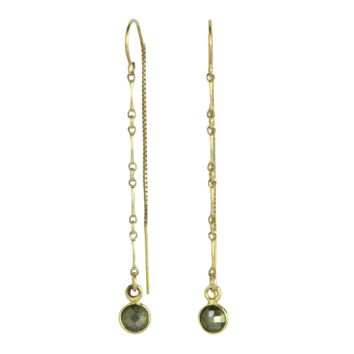 Elke Gemstone + Chain Threader Earrings in Pyrite