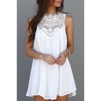 Round Collar Lace Splicing Chiffon Sleeveless Dress For Women | Kitty's Clawset