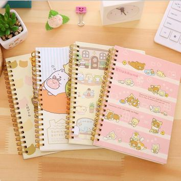 4pcs/lot NEW Kawaii Japan cartoon bear and animals Coil notebook Diary agenda pocket book/office school supplies 60sheets