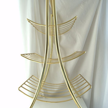 Mid Century Brass Magazine Storage Rack