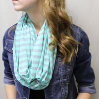 gray and mint jersey knit, infinity, loop, tube, scarf, fashion scarves, striped