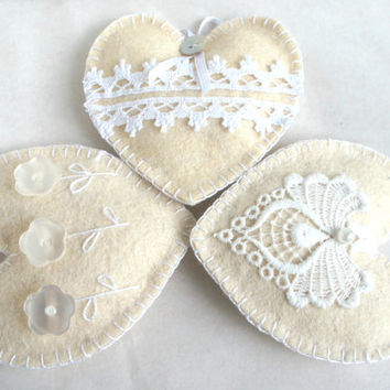 Wool felt heart ornaments  with button flowers and lace set of 3 - White Shabby Chic Vintage - Wedding Christmas Birthday gift -  home decor