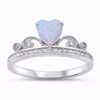 Sterling Silver CZ Lab White Opal Simulated Diamond Crown Tiara Ring 9MM