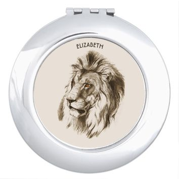Vintage Lion With Orange Eyes Transparent Drawing Makeup Mirror