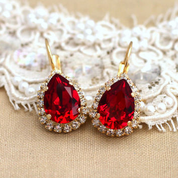 Red Ruby Crystal teardrop hook earrings Crystal - 14k plated gold earrings real Swarovski rhinestones .